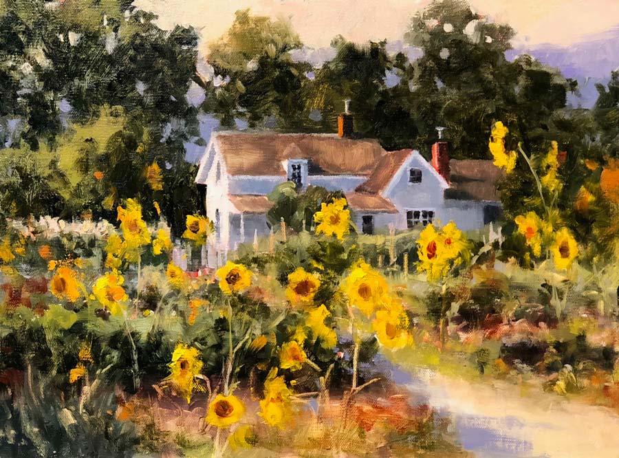 stjohn-SunflowersGoneWild-8X10oil-1050